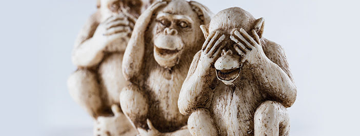 IT security training mistakes to avoid, personified by 3 monkeys.