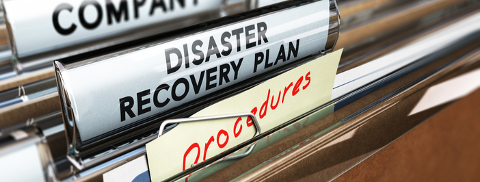 closeup of file tab disaster recovery plan business continuity procedures